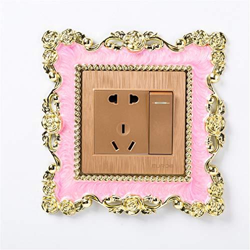 JOOFFF Lichtschalter Aufkleber Abdeckung, Rose quadratische Form Kunstharz Aufkleber Home Decor Zubehör Versorgung, Pink