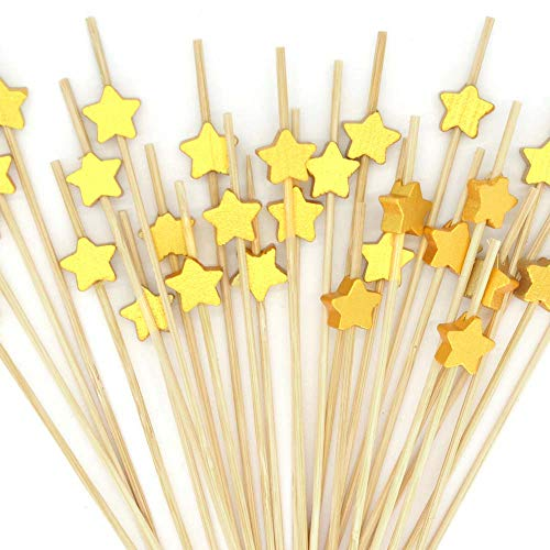 Cocktail Picks 200pcs 4.7 inch for Appetizers Fruit Sticks Wooden Star Food Picks Cocktail Toothpicks Bar Party - Drinks Fruits Decoration,Brown Gold