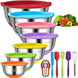 Mixing Bowls with Airtight Lids, 18pcs Stainless Steel Nesting Colorful Mixing Bowls Set – Non-slip Silicone Bottom, Size 7, 5.5, 4, 3.5, 2.5, 2, 1.5 qt, Fit for Mixing & Serving