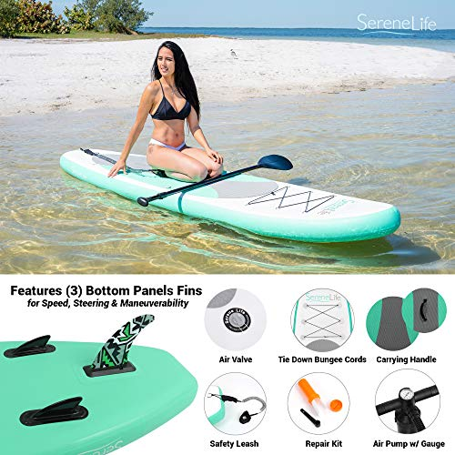 Product Image 6: SereneLife Inflatable Stand Up Paddle Board (6 Inches Thick) with Premium SUP Accessories & Carry Bag   Wide Stance, Bottom Fin for Paddling, Surf Control, Non-Slip Deck   Youth & Adult Standing Boat