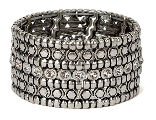 SPUNKYsoul New! Stretch Bracelet with Rhinestones in Gold and Silver Antique for Women Collection (Silver)