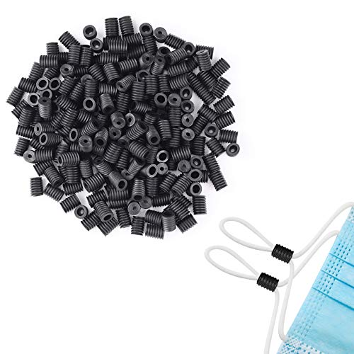 IAMUQ Cord Locks Silicone PVC Toggles for Drawstrings, Adjustable Lanyard Buckle Barrel Connectors, Elastic Cord Adjuster Non Slip Stopper Black (50)