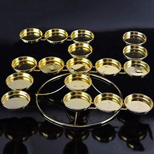 FANMENGY Candelero de Lámpara de mantequilla de la aleación de la forma de la palabra del candelabro 17pcs Titular de la vela para los titulares de la vela de la reza diaria (Color: Oro, Tamaño: One S