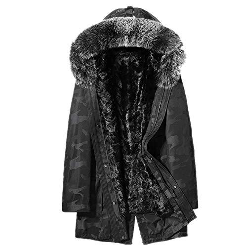 NOBRAND - Abrigo de Piel para Hombre con Capucha, diseño de Camuflaje 1 Color XL