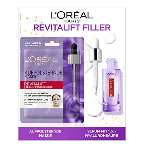 L'Oréal Paris Geschenk-Set mit Hyaluron Serum und Tuchmaske, Revitalift Filler, Anti-Aging Gesichtspflegen mit Hyaluronsäure