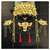 Chinese Ancient Bridal Hair Ornaments Wedding Hair Styling Earrings Sets Accessories Hairpin, 07