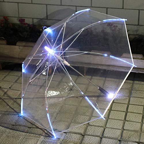 Paraguas de luz LED Coloridos y creativos, Paraguas Transparentes PoE Brillantes, fotografía de Paraguas Reflectantes nocturnos Paraguas Recto Sección Transparente