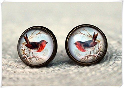 Elf House pendientes rojos. Pendientes de cristal. Robin Jewelry. Joya para pájaros. Regalos para ella. Pendientes simples. Joyería diaria