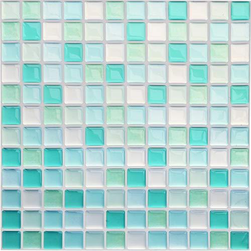 Yoillione Fliesenaufkleber Badezimmer Fliesenfolie Mosaik Fliesensticker Bad Fliesen Selbstklebend Fliesendekor, Blau 3D Fliesenaufkleber kKüche Fliesen Folie Wand Fliesen Aufkleber, 4er Pack