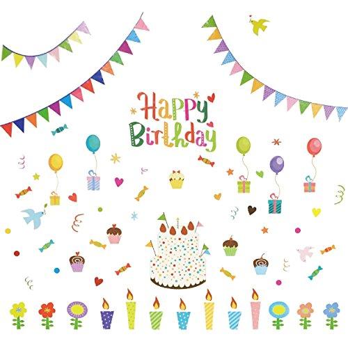MakeUp Memories(マム) 誕生日 Happy BirthDay ウォールステッカー 縦130cm×横150cm