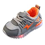 VEZARON Baby's Sneakers Girls Boys Breathable Mesh Led Luminous Sport Run Shoes with Flash Lighting Decor Gray