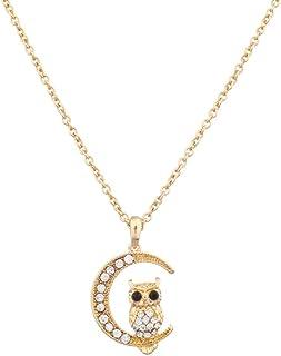 Lux Accessories Pave Owl Quarter Moon Galaxy Pendant Necklace