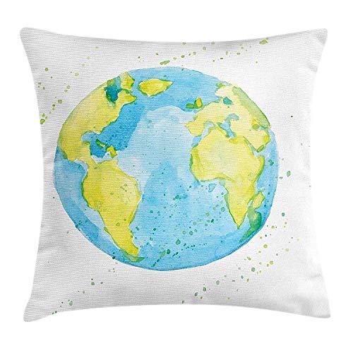 Butlerame Earth Throw Pillow Cover, Estilo Acuarela Dibujada a Mano Earth Kids Art con Manchas de Color, 18 x 18 Pulgadas, Azul pálido, Amarillo, Verde Pistacho