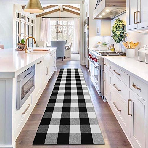 EARTHALL Buffalo Plaid Runner Rugs Black and White 2'x8' Cotton, Hand-Woven Check Door Mat, Hallway Runner, Washable Outdoor Rug Front Porch/Living Room/Laundry Room/Bedroom (23.6