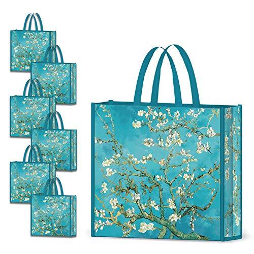 NymphFable 6 Stück Einkaufstasche Wiederverwendbare Mandelblüten Einkaufstaschen Groß Faltbar Wasserdicht Einkaufstüte