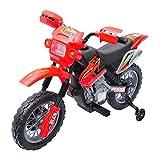 HOMCOM Moto Cross électrique Enfant 3 à 6 Ans 6 V phares klaxon musiques 102 x 53 x 66 cm Rouge et Noir