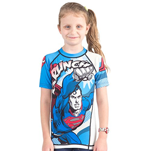 Fusion Superman Krunch Kids Rash Guard Compression Shirt- Short Sleeve (XXL)