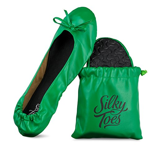 Silky Toes Women's Foldable Portable Travel Ballet Flat Roll Up Slipper Shoes with Matching Carrying Pouch (Large, Kelly Green)