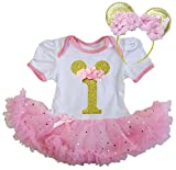 Kirei Sui Baby 1st Bodysuit Tutu & Mouse XL Glitter Pink Short Sleeve