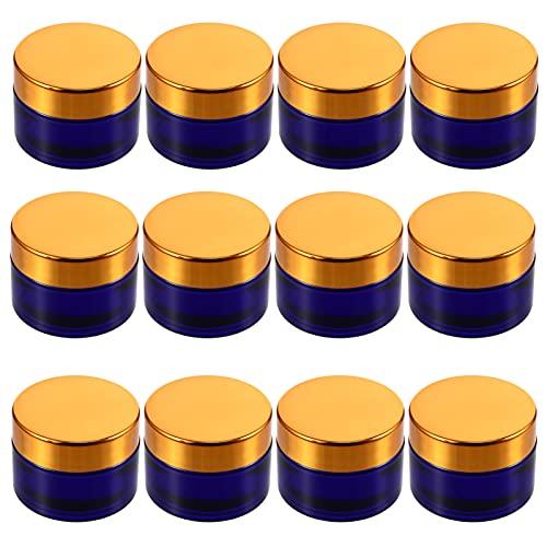 HEALLILY 12 Pzas Tarro de Crema de Vidrio 30G Recipiente Cosmético Vacío Bote de Viaje Portátil con Tapas de Rosca para Cremas de Loción Bálsamos de Labios