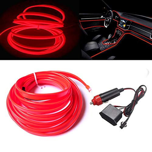 MaxLax Bright Red El Wire with 6mm Sewing Edge, 3m neon Wire 12V with Fuse Protection for Automotive Car Interior Decoration