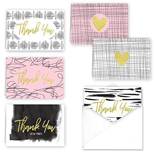 """Line Art Thank You and Hearts Folded Assortment Card Pack/Set Of 36 Cards / 6 Designs With 6 Cards Per Design And Gold Foil / 4 7/8"""" x 3 1/2"""" Gratitude Cards"""