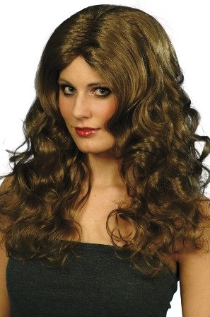Smiffy's Glamour Perruque avec des Boucles – Bown, Long,