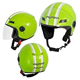 A-Pro Motorradhelm Motorrad Roller Offenes Jet Helm Viser ECE 22 05 Grün L