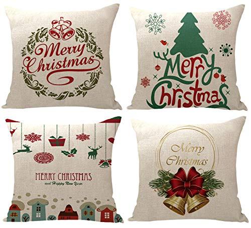 YZEECOL Christmas Pillow Covers Merry Christmas and Reindeer Santa Clause Design Xmas Tree Decorations for Home Decor Farmhouse Buffalo Plaid Cushion Cover Throw Pillow Covers 18'x18' Set of 4 Blue