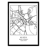 Nacnic Stadtplan Blatt Kiew skandinavischer Stil in schwarz