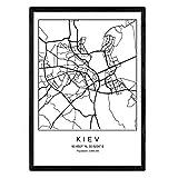 Stadtplan Blatt Kiew skandinavischer Stil in schwarz und