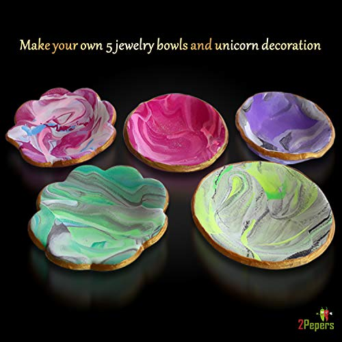 Air Dry Clay for Kids 2Pepers DIY Clay Jewelry Dish Craft Kit Make Your Own 5 Clay Bowls and Unicorn Decoration Arts and Crafts for Girls Unicorn Gifts for Girls Including Accessories and Tools