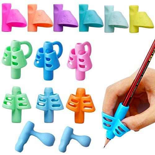 Set 14pz Impugnature Matite Bambini Impugnatura Penna per Destri Mancini Terapia Occupazionale (14pz Impugnature per Matite)
