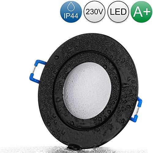 lambado® LED Spots für Badezimmer IP44 in Schwarz - Moderne Deckenstrahler/Einbaustrahler für Außen inkl. 230V 5W GU10 Strahler warmweiß - Hell & Sparsam