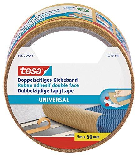 tesa Doppelseitiges Klebeband Universal - Vielseitiges Klebeband für Verpackungen, Deko und Teppiche oder zum Basteln - 5 m x 50 mm