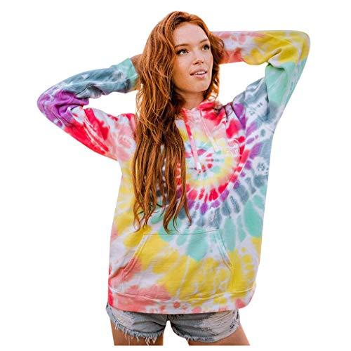 Lulupi Damen Rainbow Hoodie Bunt Kapuzenpullover 2020 Herbst Winter Mode Neuer Langarm Hooded Batik Pullover Sweatshirt mit Kapuze Sport Lässig Outwear