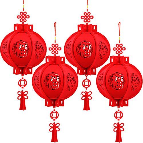 Boao 4 Piezas Linternas China 3D Carácter Fu Linterna