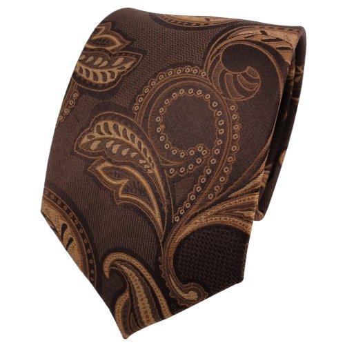 TigerTie cravate en soie brun doré brun foncé à motifs - cravate en soie silk