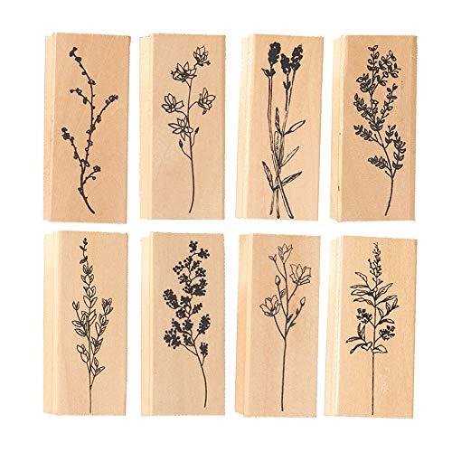 Anyasen 8 piezas Sellos de Goma de Madera Juego de sellos de impresión de madera Sellos De Madera De Flores para la Tarjeta del Arte de la decoración de DIY Que Hace Fuentes de Scrapbooking