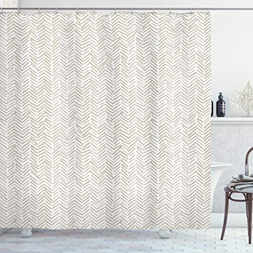 """Lunarable Chevron Shower Curtain, Hand Drawn Monochrome Herringbone Lines Composition of Abstract Zigzags, Cloth Fabric Bathroom Decor Set with Hooks, 84"""" Long Extra, White Beige"""