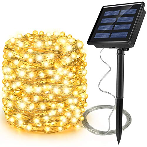 Ankway Solar String Lights Upgraded 200LED Solar Fairy Lights IP65 Waterproof 72ft Copper Wire Lights for Outdoor Home Bedroom Window Decor, Warm White