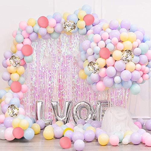 Sunshine smile Pastel Globos,Macaron Latex Balloon,Globos de Cumpleaños,Globos de Helio,Globos Boda,para Cumpleaños Decoración Fiesta Aniversario Baby Shower Comunión (100 Piezas (1))