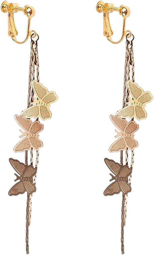 Gold Plated Clip on Earrings Cute Butterfly Dangle Long Chain Tassel Non Pierced for Girls Women