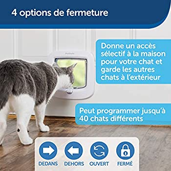 PetSafe - Chatière à Puce Électronique pour Chat Micropucé, Entrée Sélective, Facile à Installer, 4 options de verrouillage manuel, économe en énergie, coupe-vent, pratique, blanche (nouvelle version)