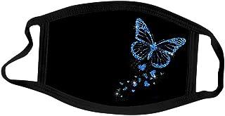 5 Pezzi Tessuto Bocca Viso Visiera in Cotone, Stampa la farfalla Lavabili Riutilizzabili Visiera Viso per Unisex