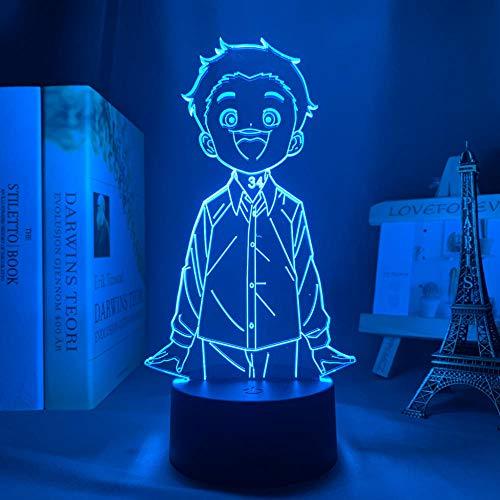 3D Led Nattlampa Talbe Illusion Lampa Anime The Promise Never Land Miracper Sovrum Dekoration Födelsedag För Barn Manga Rum Säng-Med Fjärrkontroll