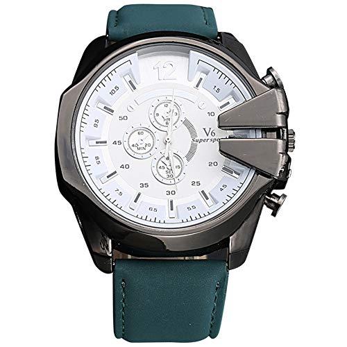 cloudbox Reloj de cuarzo - Moda PU Band Reloj de cuarzo masculino Big Round Dial Hombres Casual Writstwatch (verde+blanco) para hombres