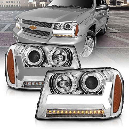 AmeriLite for 2006-2009 Chevy Trailblazer LT Models Plank LED Tube Projector Chrome Headlights Pair - Passenger and Driver Side