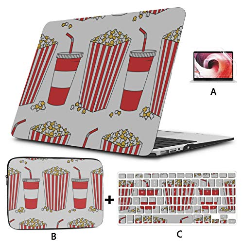 Mac Case Collection Of Popcorn Hand Drawn Mac Book Accessories Hard Shell Mac Air 11'/13' Pro 13'/15'/16' With Notebook Sleeve Bag For Macbook 2008-2020 Version