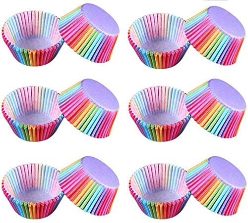 Lezed 300 Stück Cupcake Wrapper Regenbogen Papier Papierförmchen Liner Regenbogen Muffin Backförmchen Muffin Backförmchen Rainbow Cupcake Fällen Kuchen Backen Muffin Dessert Hochzeit Party